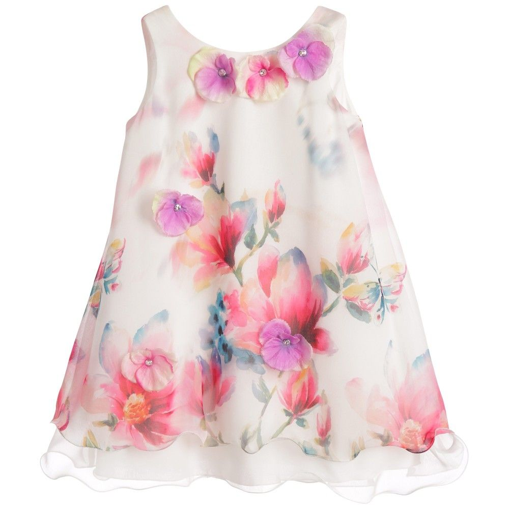 Layered White Chiffon & Tulle Floral Dress | Vestidos bebe, Ropa ...
