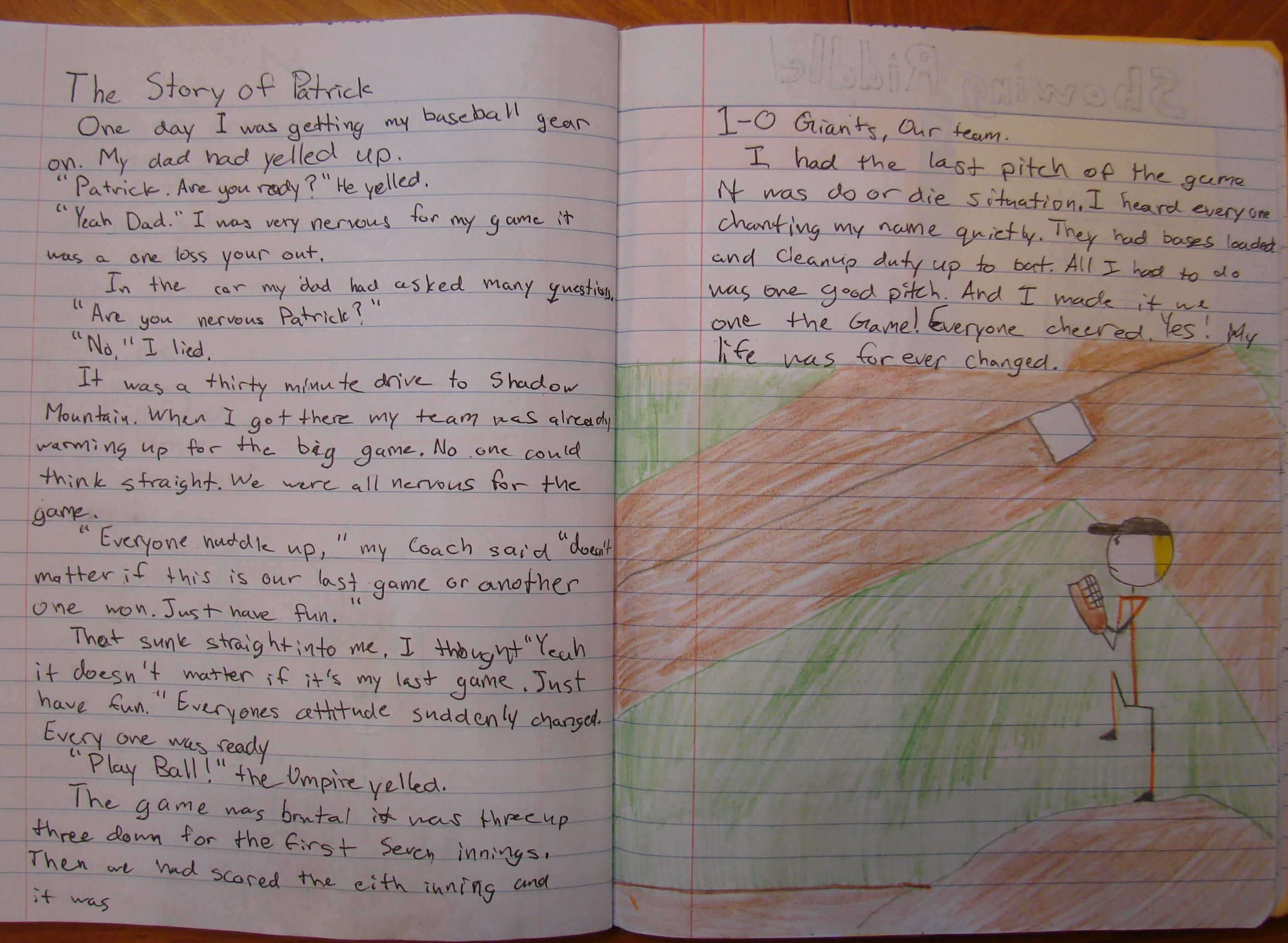 Last week, 6th grader Patrick won with his fictional sports story about his friend, fellow sixth grader Max.  Max now returns the favor to Patrick with this tribute to him playing sports.  Click here to see Patrick's story about Max: http://www.pinterest.com/pin/450852612667922670/