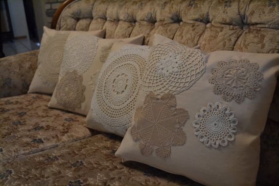 Set of Four Cream Colored Pillow Covers with Crocheted by Erindee, $70.00