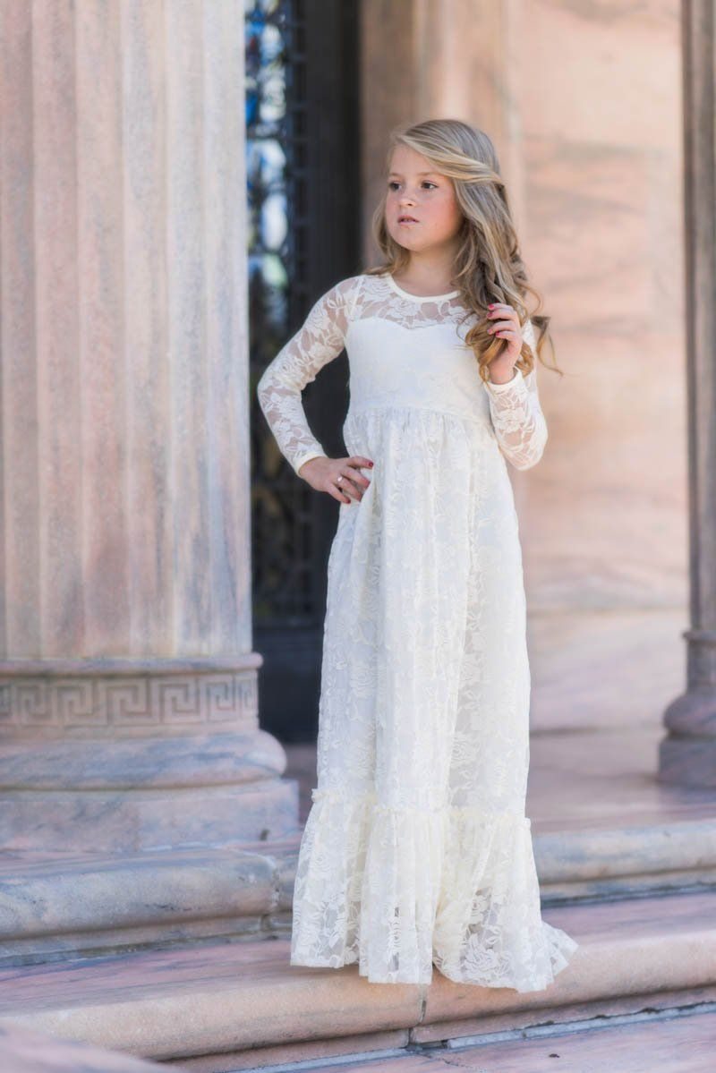 Maybelle Buttercream Long Sleeve Lace Ruffle Bottom Lace Gown Dress Just Couture Girls Baptism Dress Girls Communion Dresses Communion Dresses [ 1199 x 800 Pixel ]