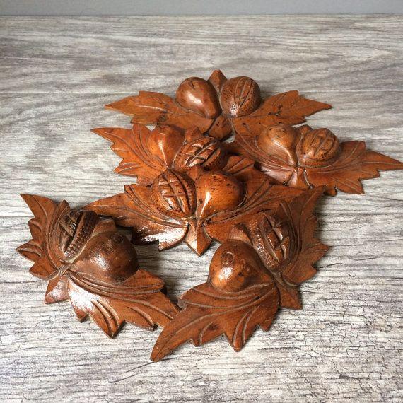 Irish Setter Carved Wood Drawer Pulls Oak Leaves Vintage Stuff Woodworking Drawers Antique Oak Leaf Cluster