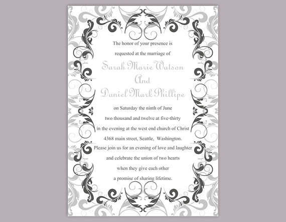 Wedding Invitation Template Printable