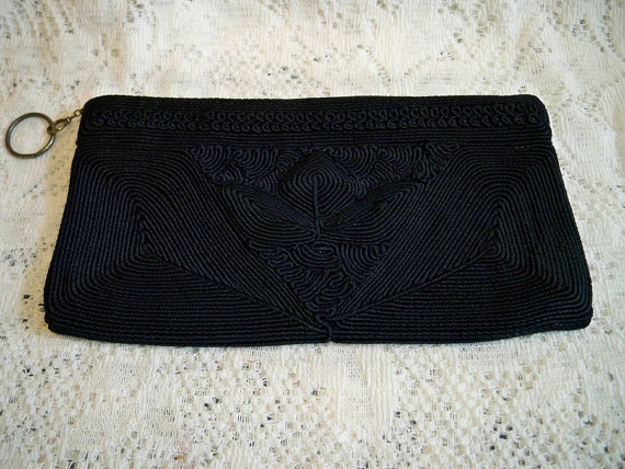 Vintage 1940s Black Corde Evening Bag Clutch Purse