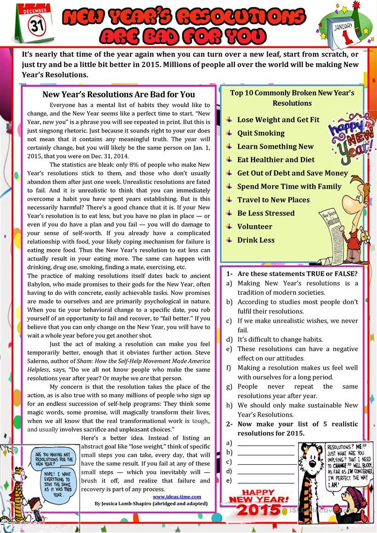 New Year S Resolutions Are Bad For You New Years Resolution Reading Comprehension Worksheets Reading Comprehension [ 1079 x 763 Pixel ]