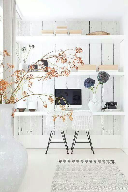 30 Designers Secret Tips: Wonderful Home Decoration White Beautiful Desk    House Doctor Rug   Inspiring Workspace Home Office Organizing