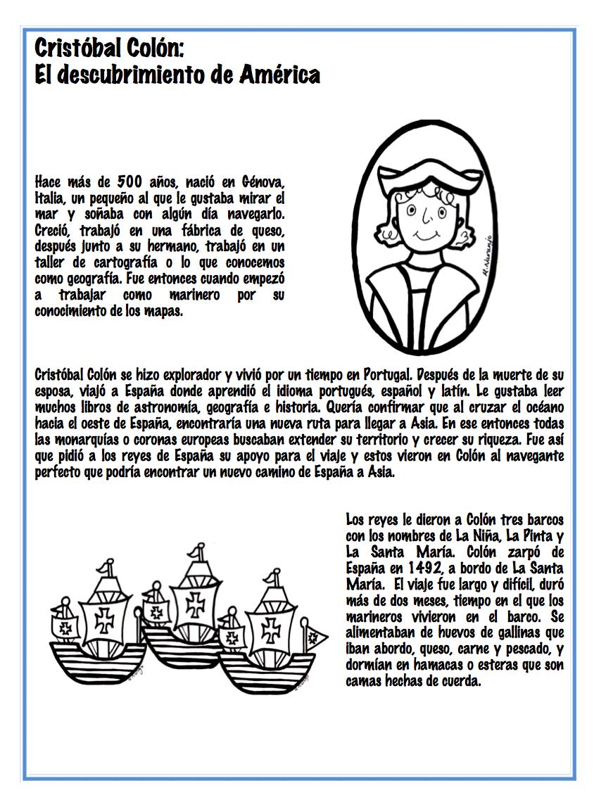 Christopher Columbus\'s trip to America. Spanish lesson. (Cristobal ...