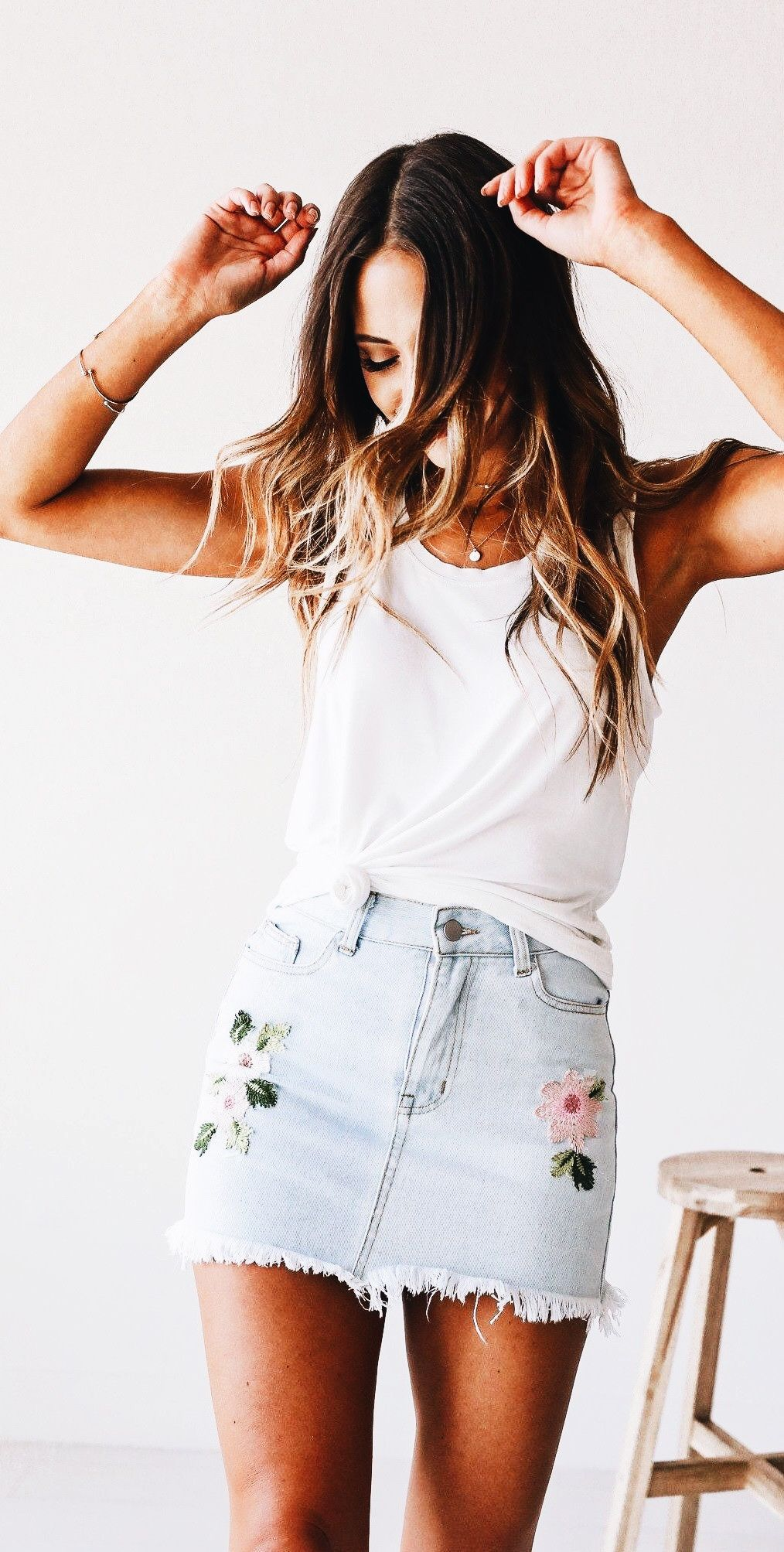 ee0cb3528b9 Denim skirt. Tied up tank top. White tank top outfit. Denim skirt outfit.  Jean skirt outfit.