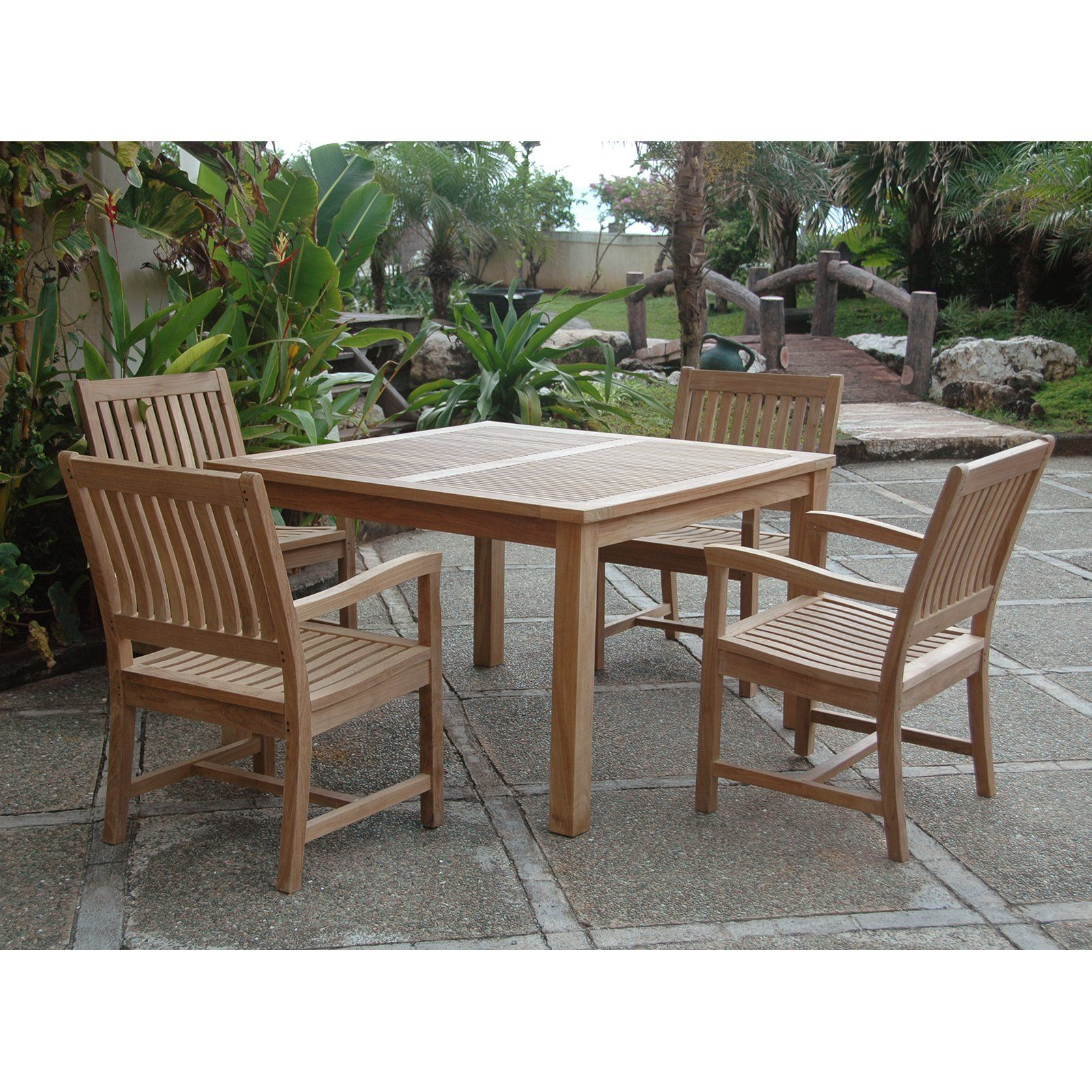 Outdoor Anderson Teak Rialto 4 Person Teak Patio Dining Set Canvas Pacific Blue Patio Dining Set