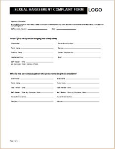 Sample Harassment Complaint Form Official Complaint Form Templates For WORD