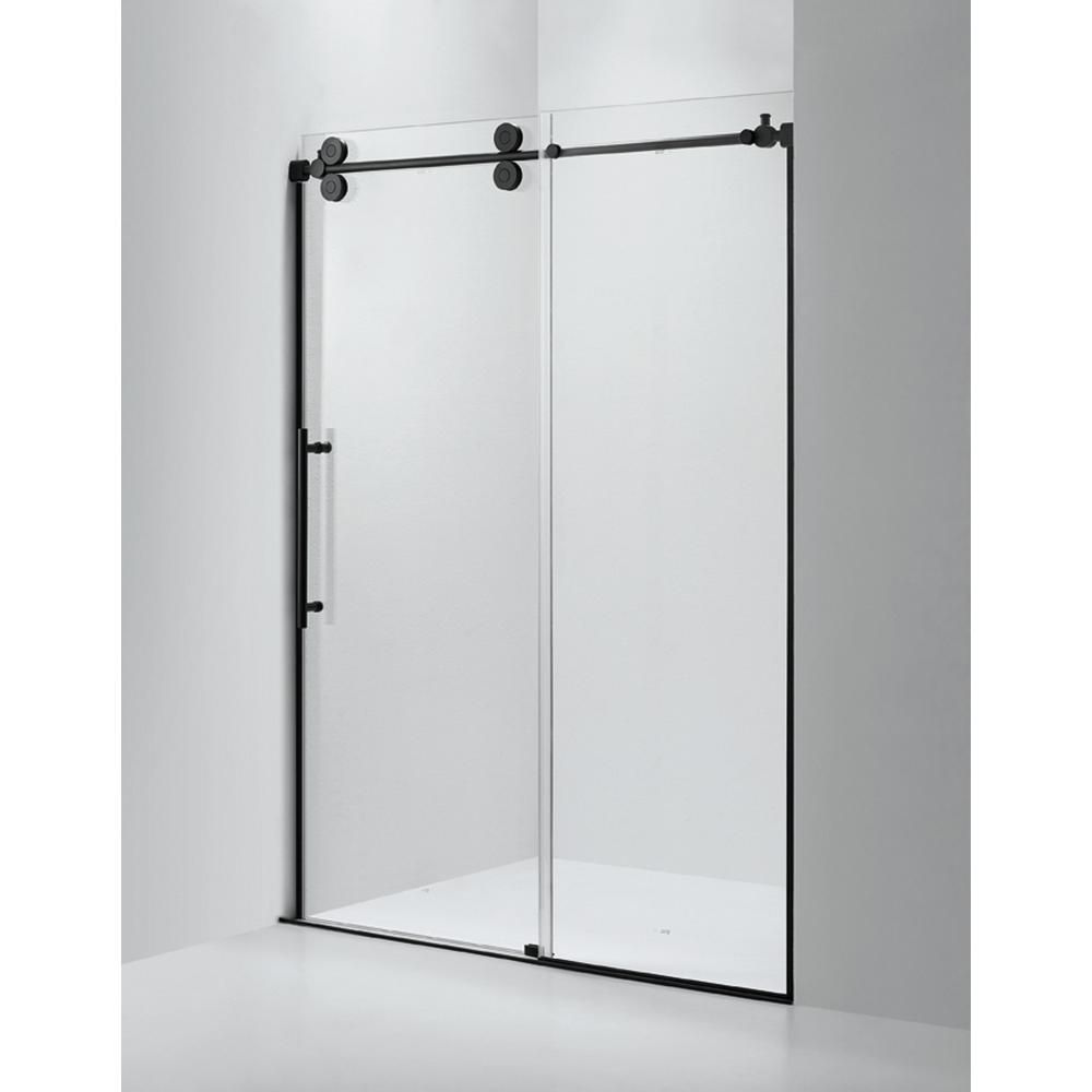 Dreamwerks 60 In X 79 In Frameless Sliding Shower Door In Black Bt228bcb The Home Depot Frameless Sliding Shower Doors Shower Doors Frameless Shower Doors