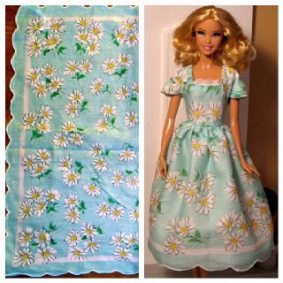 Barbie doll dress and the vintage hankie it was made from