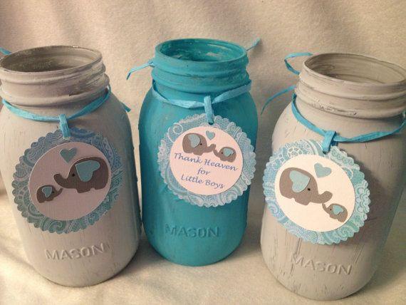 Adorable Baby Elephant Baby Shower Centerpieces Quart or Pint Size Mason Jar