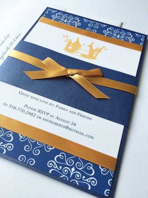 little prince baby shower invitation royal blue baby shower gold crown unique baby shower
