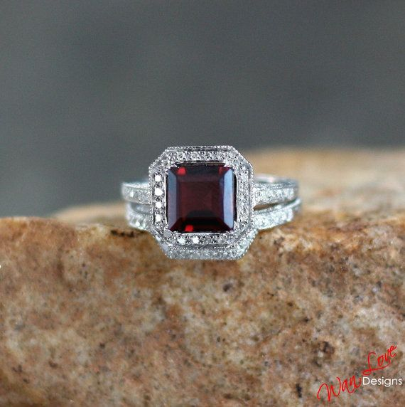 I would want a band on both sidesb Garnet Diamond Halo Antique