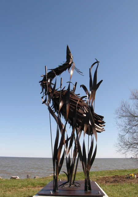 Great Blue Heron Memorial My husband created that now sits on the Manitowoc Trail along the Lake Michigan Shore Line.