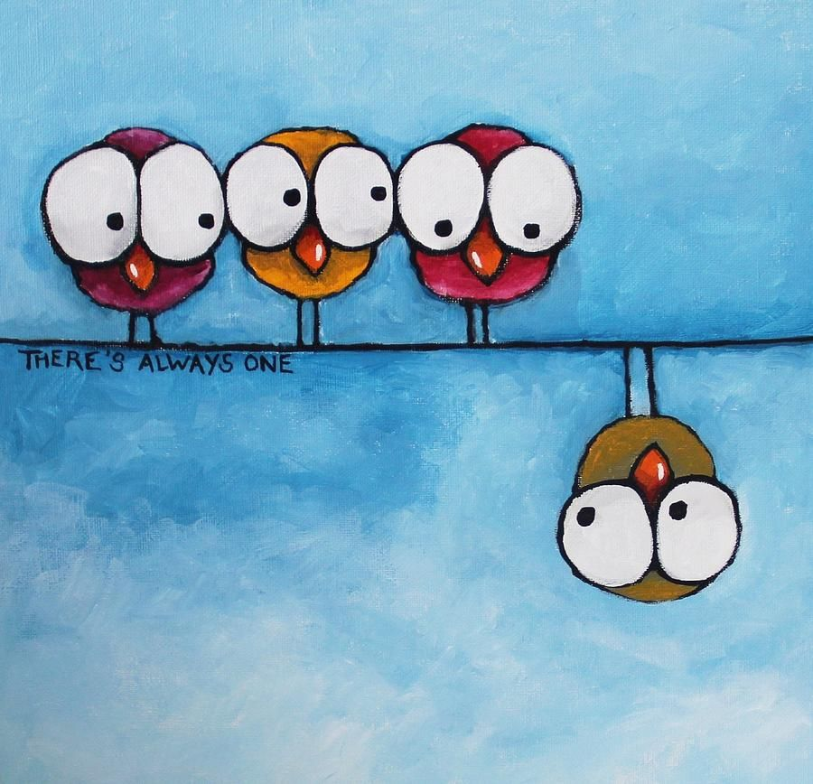 Whimsical painting theres always one by lucia stewart - Dibujos infantiles divertidos ...