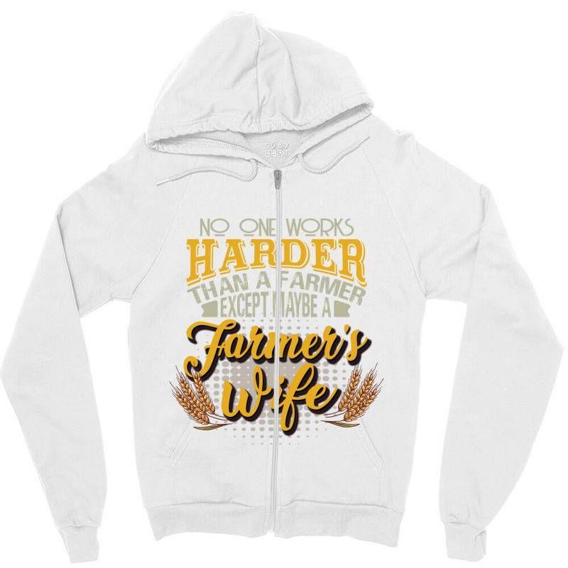Photo of Niemand arbeitet härter als ein Bauer, außer vielleicht die Frau eines Bauern, Zipper Hoodie