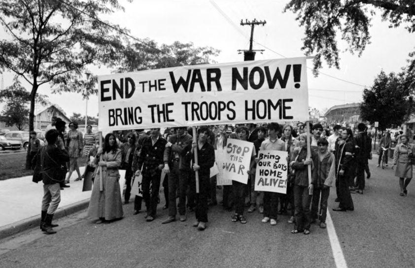 Antiwar March Outside Crisler Arena On The University Of Michigan Campus September 20 1969 Courtesy Of The Detroit News Collection Vietnam War Vietnam War