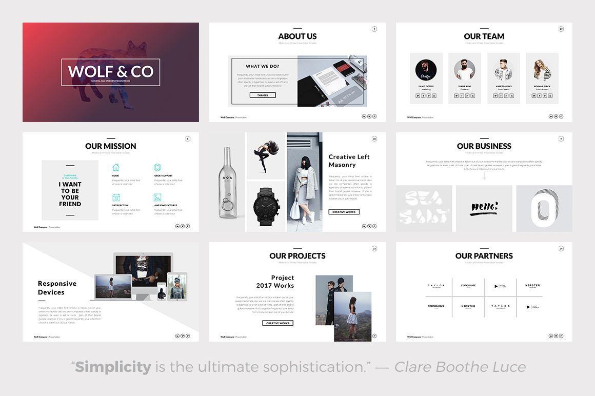 wolf is a minimal keynote presentation template suitable for, Powerpoint templates