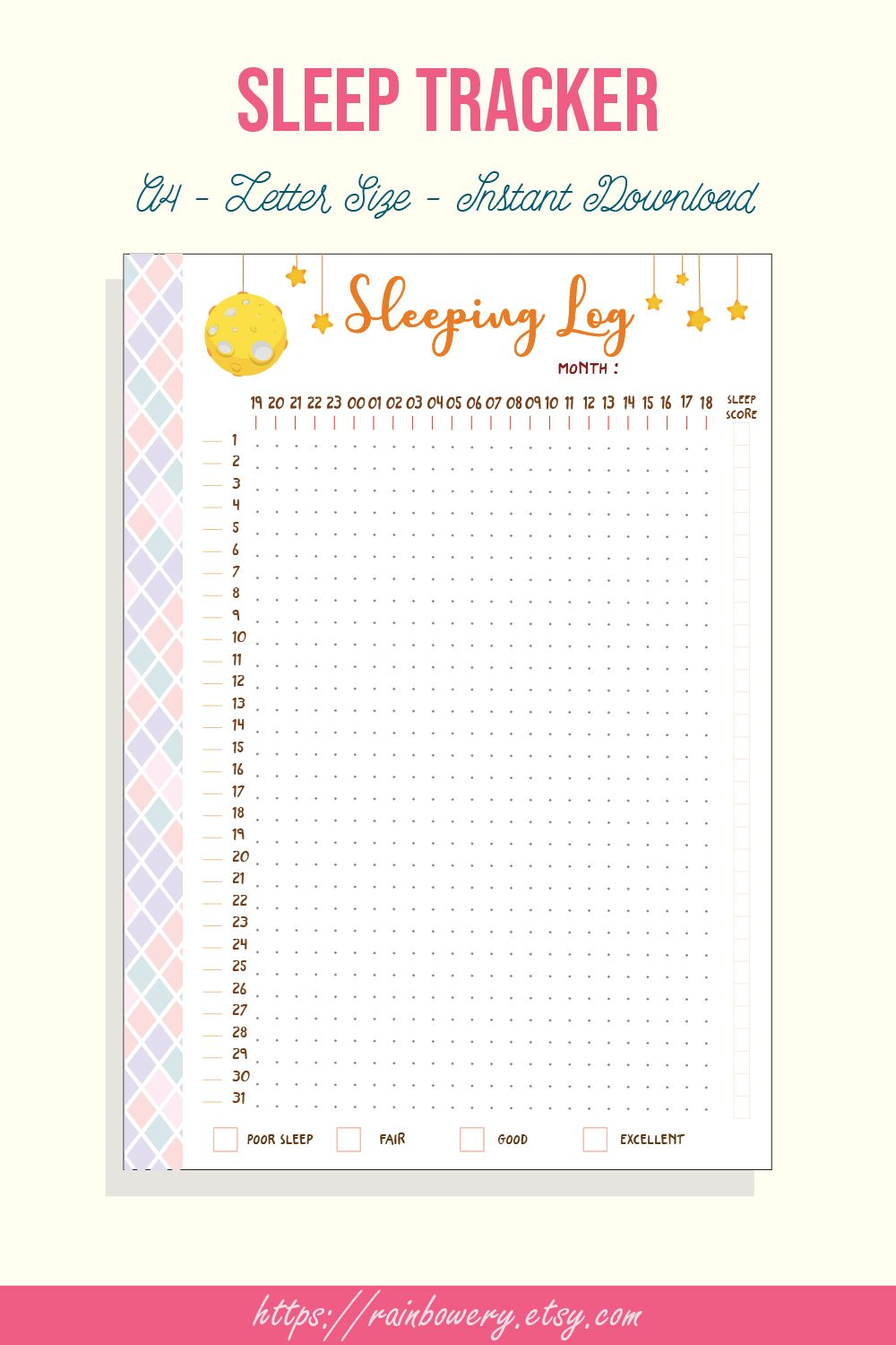 photograph relating to Sleep Tracker Printable known as Rest Tracker Printable, Rest Log, Rest Routine, Snooze