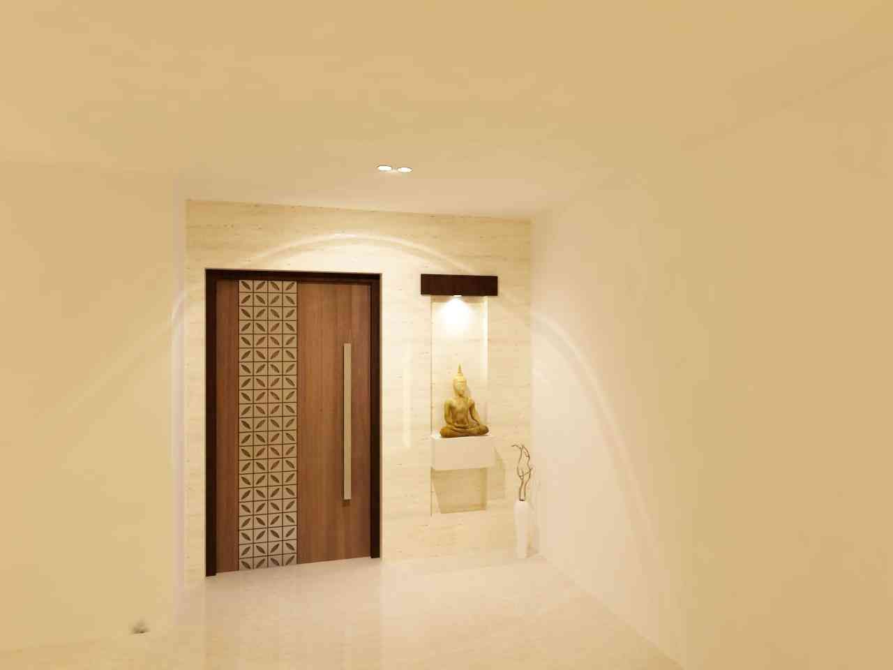 The main door design is both somber and the wooden finish for Main door design for flat