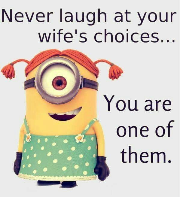 Wifes Choices Love Those Minions Funny Funny Quotes Funny