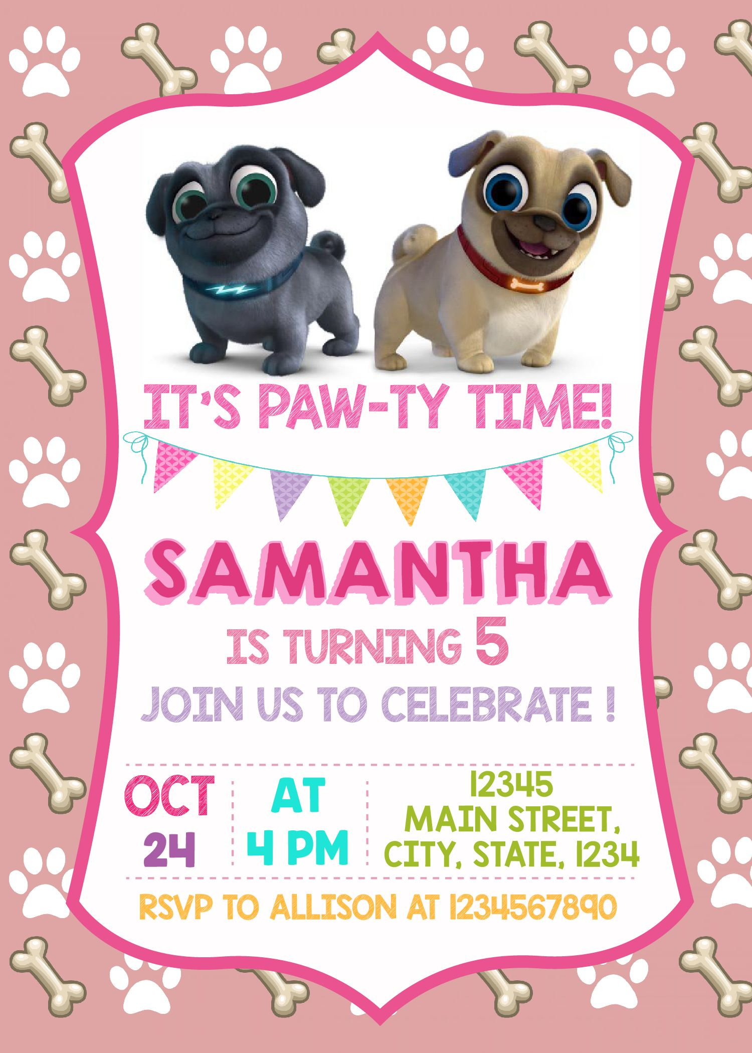 Puppy Dog Pals Printed Invitation Puppy Dog Pals Invite Etsy Puppy Birthday Parties Party Invitations Kids 2nd Birthday Party Themes