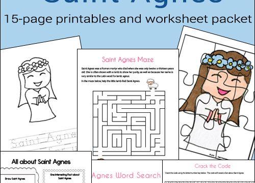 Free 15-Page Saint Agnes Printable Worksheet Packet Catholic