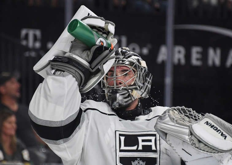Las Vegas Nevada September 28 Jack Campbell 36 Of The Los Angeles Kings Takes A Break During A Stop In Play In The Second Period Of A Preseason Game Agains