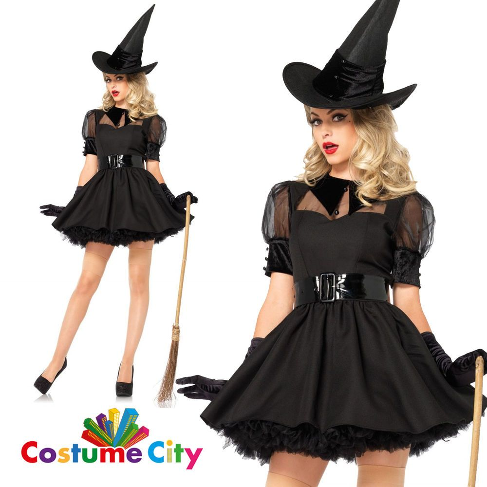 Adults Womens Black Bewitching Witch Fancy Dress Party Sexy ...