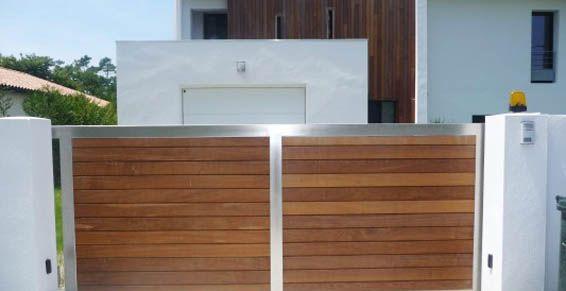 Portail inox et bois exotique anglet chiberta jardin for Portail jardin metal
