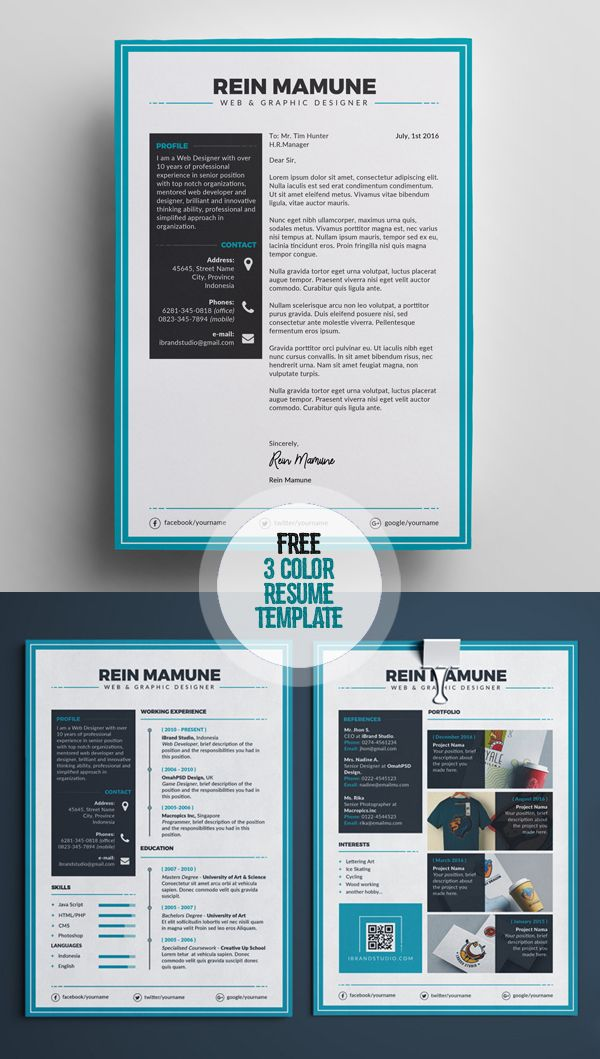 Free Minimal Resume Template (3 Colors) Misc Pinterest Free - colorful resume templates