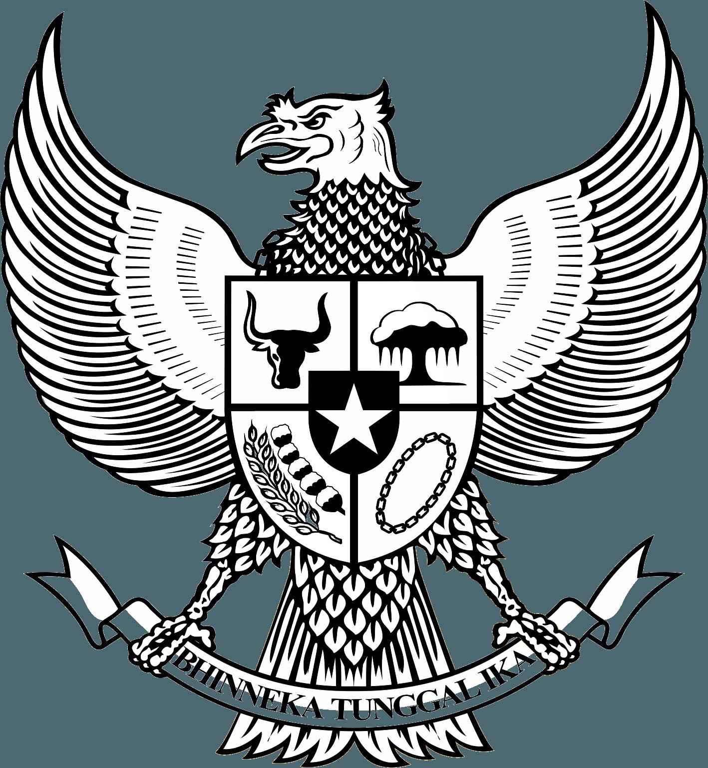 Logo Garuda Pancasila Bw Hitam Putih Lambang Negara Gambar Sketsa