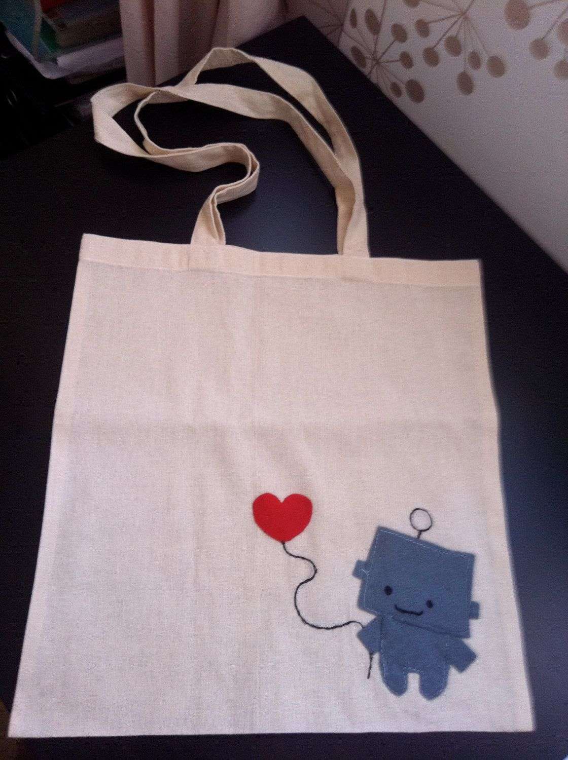 Cute Robot on canvas tote bag purse by KawaiiTotes ~ I have a thing fir cute happy robots! 