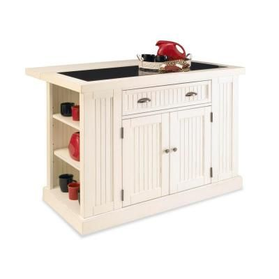 Home Styles Nantucket White Kitchen Island With Granite Top Black