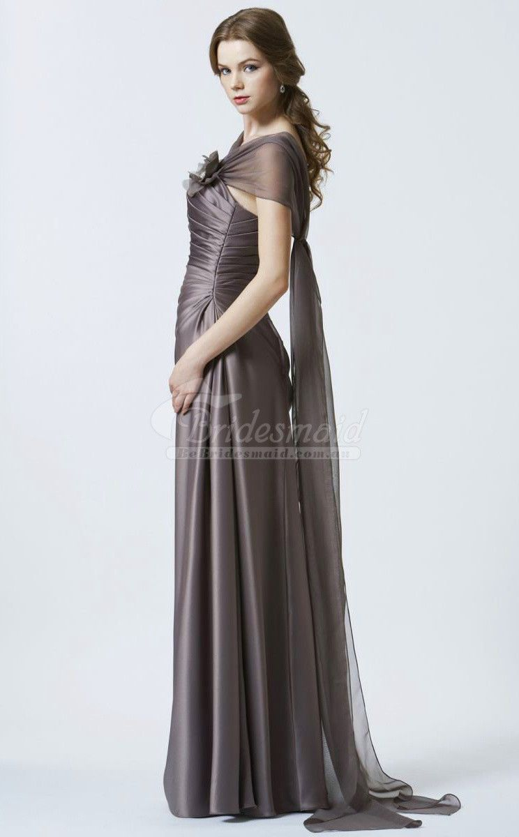 Best dark gray chiffon off the shoulder long bridesmiad dress