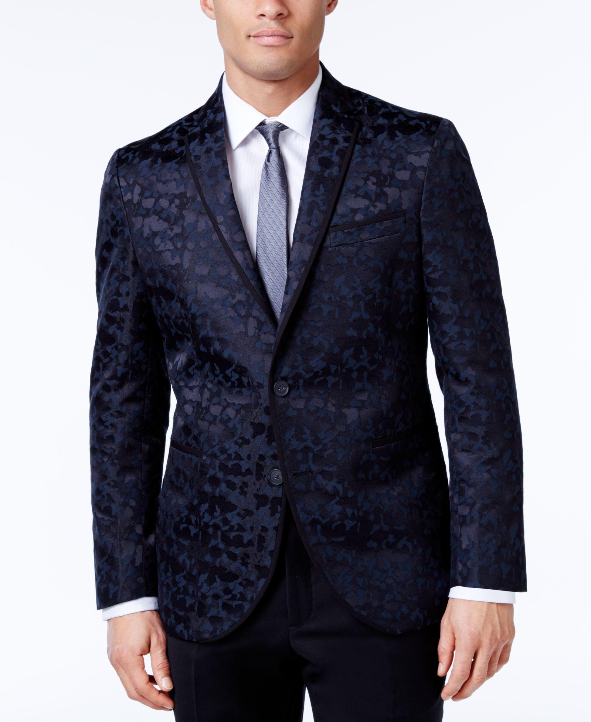 00e7c136ea436 Kenneth Cole Reaction Men's Slim-Fit Blue and Camouflage Dinner Jacket