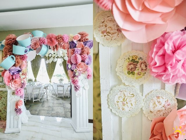 Kyras Shabby Chic Tea Party Themed Party Entrance Details Tea