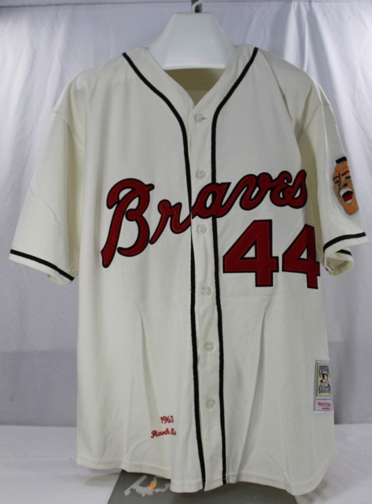 new style 140e9 4a8e2 Details about ATLANTA BRAVES HENRY AARON MITCHELL AND NESS ...