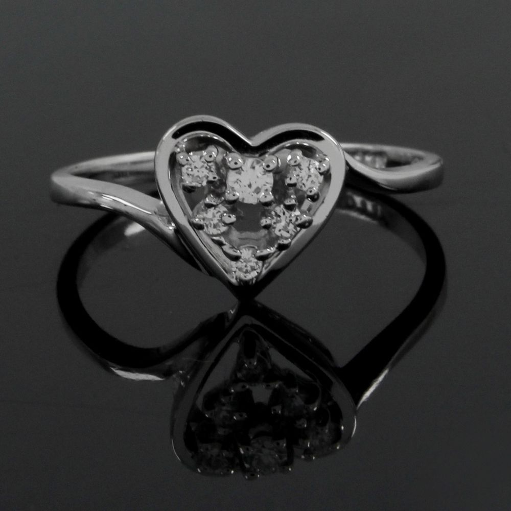 0.16CT ROUND CUT VVS1WHITE PLATINIUM PLATED HEART SHAPE RING E202 #AffinityJewelry #Heart