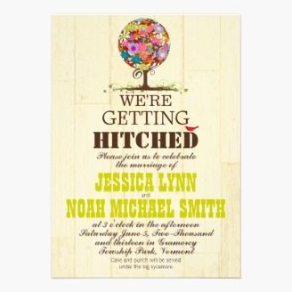 Vintage Modern Cute Bird And Flower Tree Wedding Custom Invitations We Re Getting Hitched