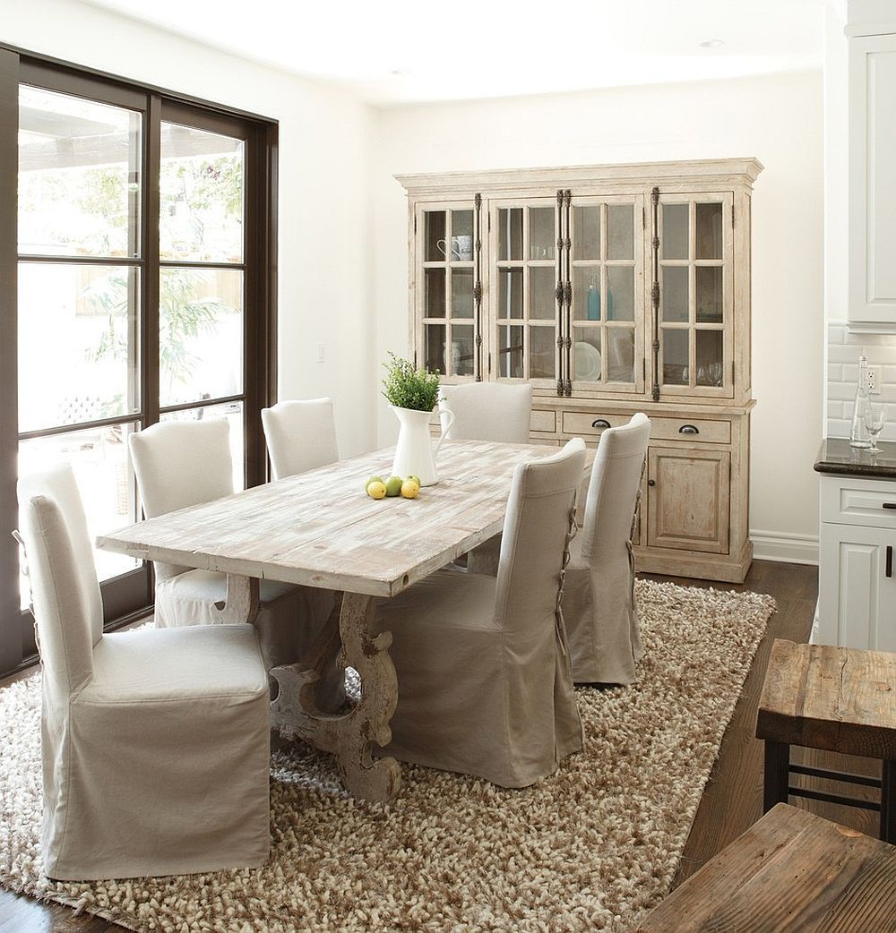 French Country Style Dining Room With A Stylish Hutch And Table In Wood From