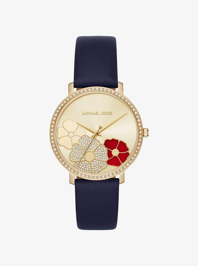 82d171fb76 Michael Kors Jaryn Pave Gold-Tone Leather Watch | Women's Watches ...