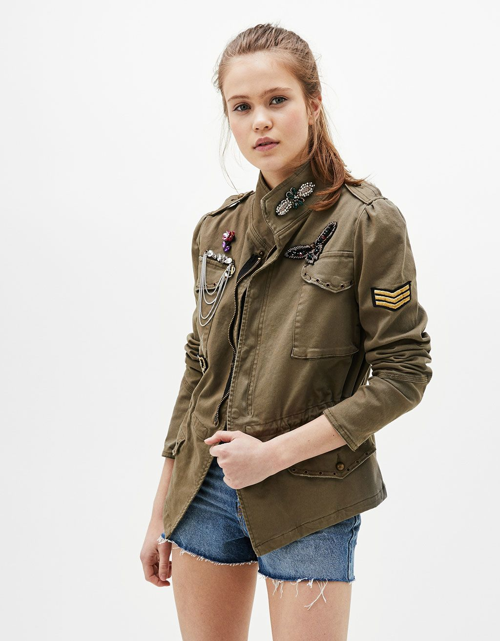 military jacket with details discover this and many more items in bershka with new products. Black Bedroom Furniture Sets. Home Design Ideas