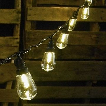 Commercial LED Edison String Lights, 16 Foot Black Wire, Warm ...