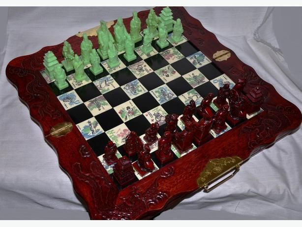 Antique Asian Chinese Chess Board Set