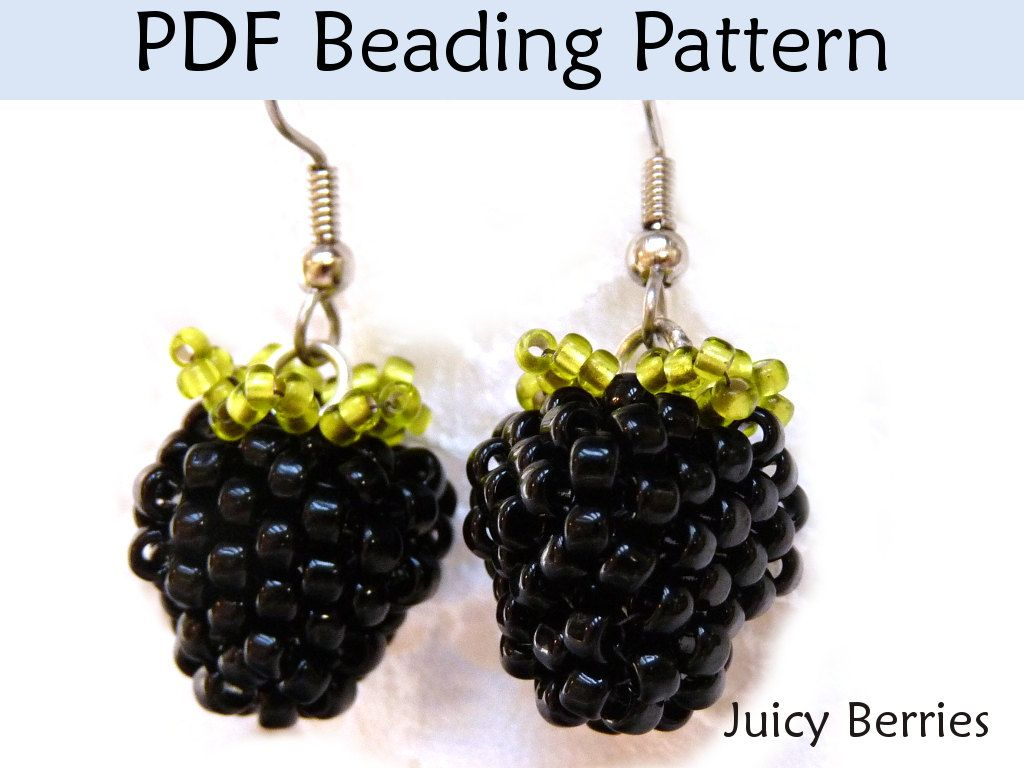 Beading Pattern Tutorial Earrings Beaded Blackberry Raspberry