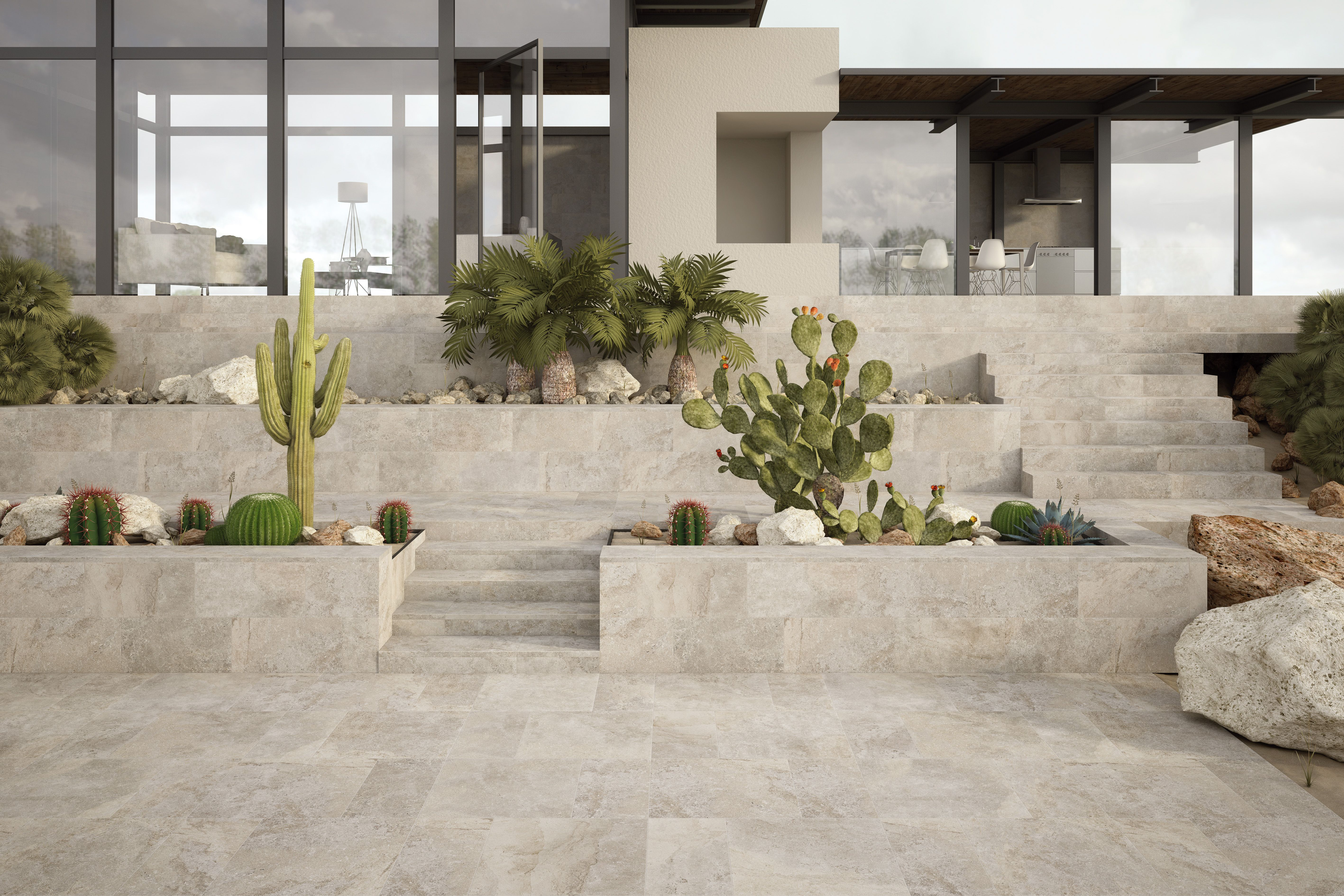 Sassuolo Stone Universe Exterior Porcelain Tile Even The Planters And Treads Are Porcelain Tile Wow Outdoor Flooring Outdoor Stone Exterior Tiles