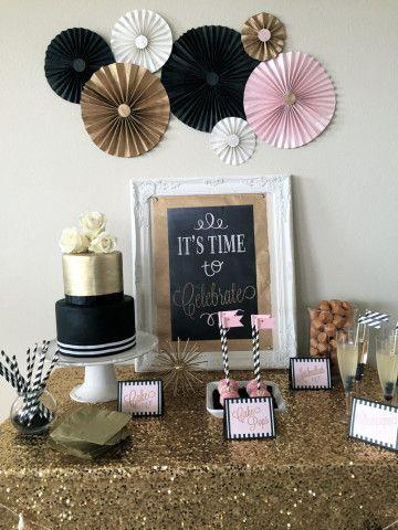 Black blush gold sparkle celebration complete party for 50th birthday decoration packages