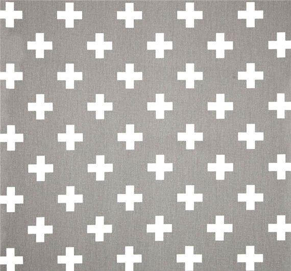 Grey White Cross Cotton Fabric by the Yard Designer